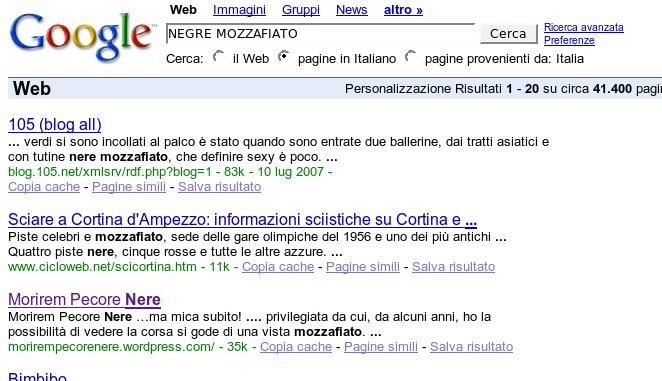 Ricerca di Negre Mozzafiato suGoogle