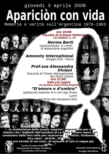 Locandina evento Amnesty International - Siena