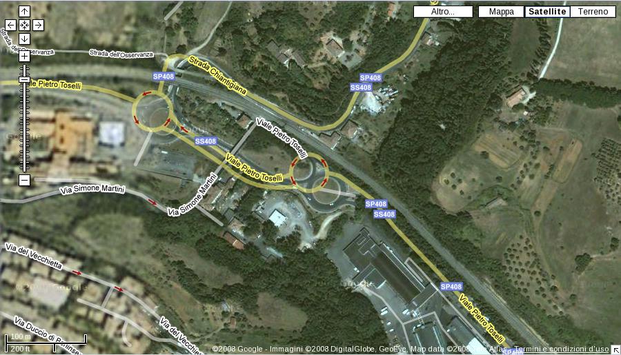 Indicazioni stradali di Siena non allineate alle foto satellitari