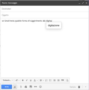 Autocompletamento in azione su Gmail