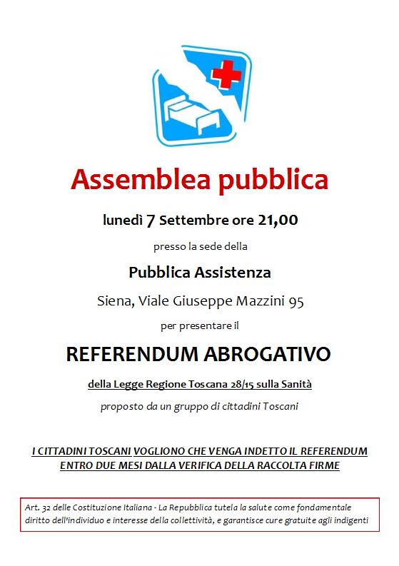 assemblea 7 settembre Sanità Pubblica a Siena